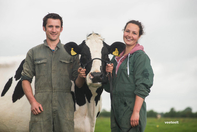 Melkveehouders Koen en Irma Spruit (met Beatrix 70) uit Zegveld